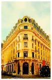 Vattenfärg av en fransk byggnad Arkivbild