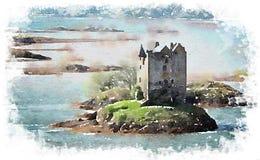 Vattenfärg av en slott som omges av vatten stock illustrationer