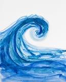 Vattenfärg av en våg Arkivbilder