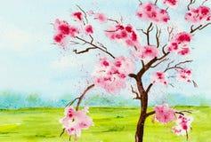 Vattenfärg av ett körsbärsrött träd mot blå himmel Arkivfoto