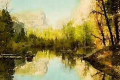 Vattenfärg av ett landskap som reflekterar i en lugna sjö Arkivfoto