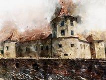 Vattenfärg av rumänska gränsmärken - Fagaras medeltida slott royaltyfri illustrationer