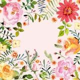 vattenfärg blom- prydnad Vår Arkivfoton