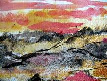vattenfärg för 6 abstrakt texturer Royaltyfria Foton