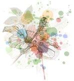 vattenfärg för bakgrundsblommahibiskus Arkivfoto