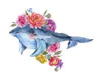 Vattenfärg för blått val med rosen, anemoner, sommarblommor Nautiskt hälsa kort vektor illustrationer