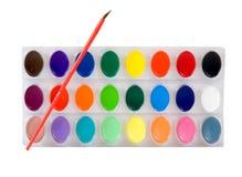 vattenfärg för borsteset arkivfoton