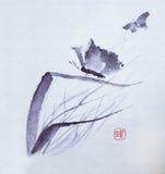 Vattenfärg för fjärilsblommor Stock Illustrationer