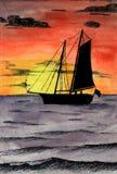 vattenfärg för havsegelbåtsolnedgång Arkivfoton