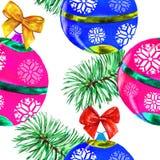 Vattenfärg för julbakgrundsvit Arkivfoto