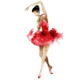 Vattenfärg för ljus bild för dansballerina härlig Arkivbilder