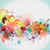 vattenfärg för målning för höstdesign blom- Arkivbild