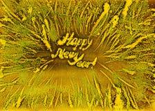 Vattenfärg för nytt år för ram för frostiga snöflingor guld- Arkivfoto