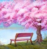 vattenfärg för park för höstbroliggande liten Bänk vid floden under blomningpersikaträd stock illustrationer