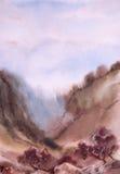 vattenfärg för park för höstbroliggande liten Träd ravin, lutning, berg Royaltyfri Foto