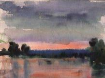 vattenfärg för park för höstbroliggande liten sjö i lugna väder på solnedgången, hand dragen illustration, naturbakgrund royaltyfri foto