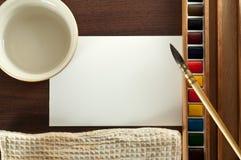 vattenfärg för vatten för tappning för borstetorkdukemålarfärg Arkivbilder