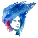 Vattenfärg flicka, ståendeklotter som är idérikt, dam, kreativitet, illustration, Fotografering för Bildbyråer