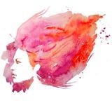 Vattenfärg flicka, ståendeklotter som är idérikt, dam, kreativitet, illustration, Arkivfoton
