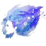 Vattenfärg flicka, ståendeklotter som är idérikt, dam, kreativitet, illustration, Royaltyfri Foto