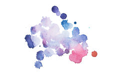 Vattenfärg gouachemålarfärg Blåa abstrakta fläckar plaskar färgstänk med grov textur Arkivfoto