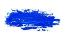 Vattenfärg gouachemålarfärg Blåa abstrakta fläckar plaskar färgstänk med grov textur arkivbild