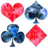 Vattenfärg hand-dragen dräkt för spela kort royaltyfri illustrationer