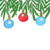 vattenfärg Jul föreställer med branchesspruce och mång--färgade bollar royaltyfria foton