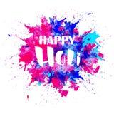 Vattenfärg lyckliga Holi Arkivbild