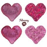 Vattenfärg målad fastställd vektorhjärta för Valentine Day Vattenfärghjärtor och kaki- rosa hjärtavektorillustration Royaltyfri Bild