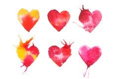 Vattenfärg målad röd dragen illustration för hjärta hand Arkivfoto