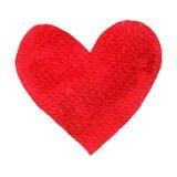 Vattenfärg målad röd hjärta Beståndsdel för vykort för kort eller för romantiker för dag för designvalentin` s Arkivfoto