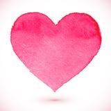Vattenfärg målad rosa hjärta stock illustrationer
