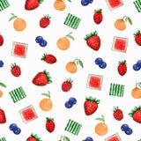 Vattenfärg målad samling av frukter Utdragen ny mat D för hand vektor illustrationer