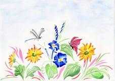 Vattenfärg med blommor och sländan Fotografering för Bildbyråer