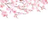 Vattenfärg med vårträdet i blomning stock illustrationer