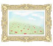 Vattenfärg- och ledningsblyertspennateckning med sommarlandskap i guld- rektangulär ram stock illustrationer