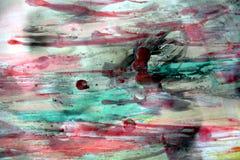 Vattenfärg och röd grön vaxartad abstrakt bakgrund Arkivbild