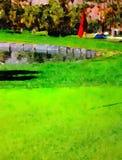Vattenfärg på golfbanan Arkivbild
