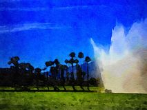 Vattenfärg på golfbanan Royaltyfria Bilder