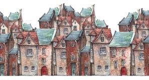 Vattenfärg som är attern av en gammal stad vektor illustrationer