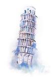 Vattenfärg som drar det lutande tornet av Pisa målning för aquarellevärldsunder royaltyfri fotografi