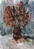 Vattenfärg som målar lösa blommor i en vas Royaltyfri Foto