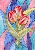 Vattenfärg. Tulpan. Härliga blommor för din des Arkivfoton