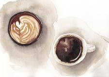 Vattenfärg två koppar kaffe stock illustrationer