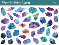 Vattenfärg vektorgemstones som läker kristaller arkivbilder