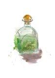 Vattenfärgabsintflaska Alkoholdrinkillustration Royaltyfri Fotografi