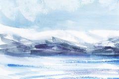 Vattenfärgabstrakt begrepplandskap Isfält, kalla berg ljus molnig himmel Hand som dras på en pappers- illustration royaltyfri illustrationer