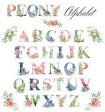 Vattenfärgalfabet med pionblommor och leves Romantisk blom- stilsort Monogramdesign vektor illustrationer