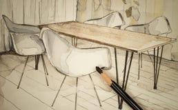 Vattenfärgaquarellefärgpulver skissar freehand den arkitektoniska teckningen för perspektivet av matsal av en lägenhetlägenhet me Vektor Illustrationer
